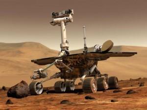"""这是顽强的""""勇气号""""探测器在火星上工作的场面"""